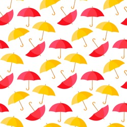 Colorful umbrellas seamless background pattern vector illustration. Autumn weather style. Red yellow color for your web design