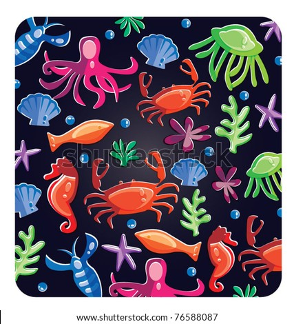 Colorful under water world wallpaper,with fish,octopus,seahorse,star fish and others