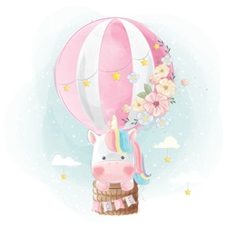 Colorful Unicorn Flying with Balloon