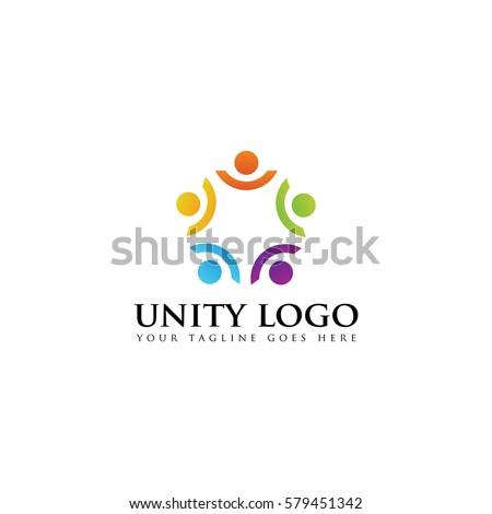 colorful unity concept logo icon vector template