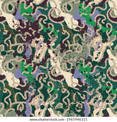 Colorful unusual seamless artwork with wave hand drawn abstract pattern for print, fabric and texture
