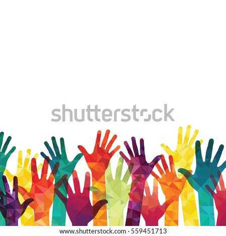 Colorful up hands. Vector illustration