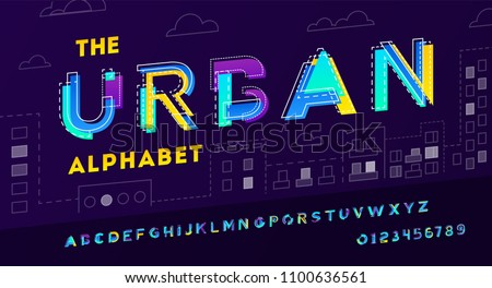 Colorful urban modern font and alphabet made of pieces of paper.