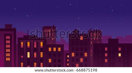 colorful urban night cityscape