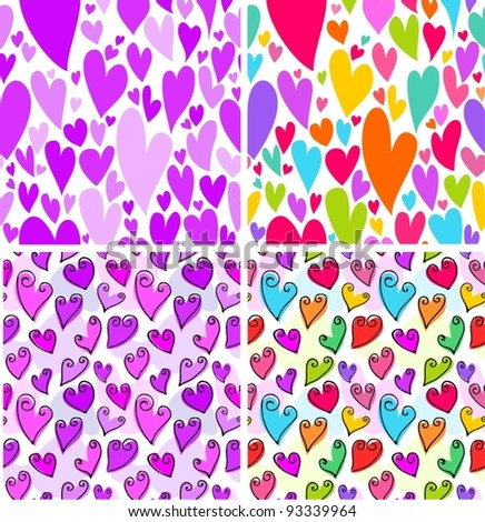 Colorful Valentine's Day sketchy hearts seamless pattern set