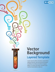 Colorful Vector Background - Idea Bulb Strands coming out of a Test Tube. Creative Concept for showing Ideas, Innovation, Invention, new product and many other ideas.