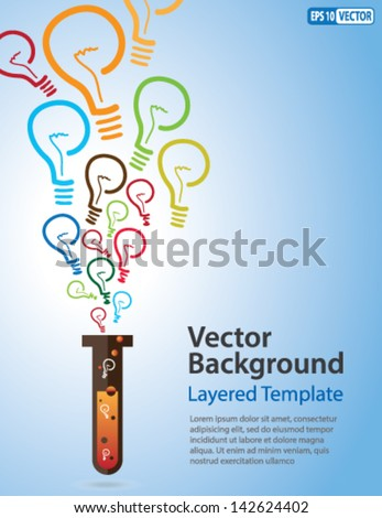 Colorful Vector Background Idea Bulb Strands coming out of a Test Tube Creative Concept for showing Ideas Innovation Invention new product and many other ideas