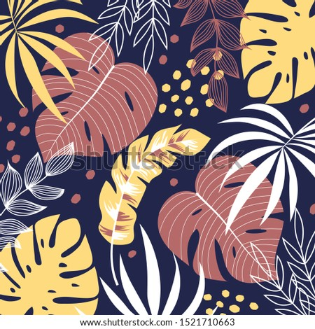 Colorful vector background with tropical plants. Hand draw texture. Vector template. Summer background with exotic leaves. Exotic wallpaper, Hawaiian style.