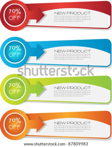 colorful vector banner set - stock vector