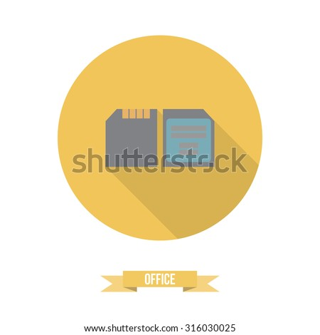 Colorful vector business office flat icon, memory card, camera, storage