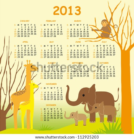 Colorful Vector Calendar 2013 for Children with Giraffes, Elephants and a Monkey