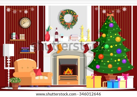 Colorful vector christmas room interior design with for Christmas gifts for interior designers