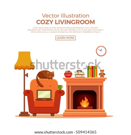 colorful vector cozy fireplace