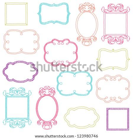 Colorful Vector Doodle Frames