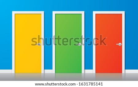 colorful vector doors set of