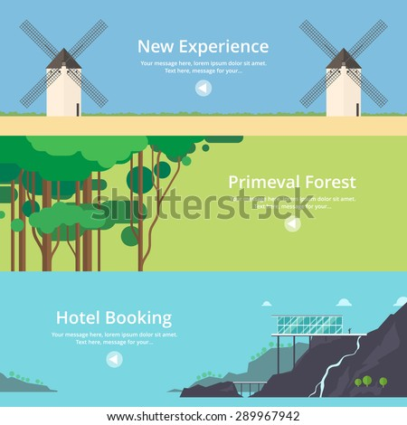 Colorful vector flat banner set quality design for Hotel booking design