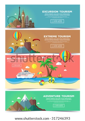 Colorful vector flat banners set for travel and tourism.