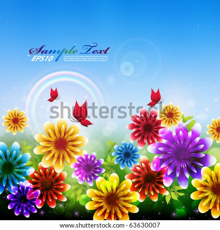 colorful vector flowers in the