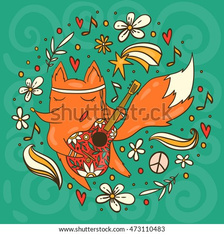 colorful vector fox in hippie