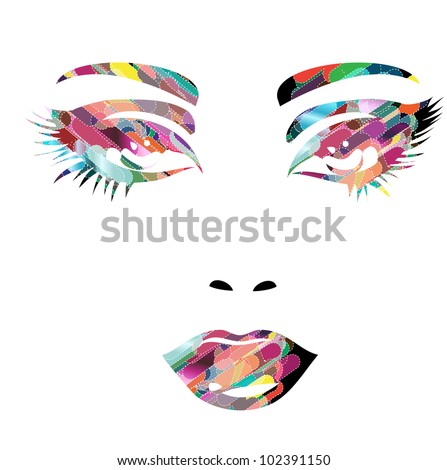 colorful vector girl face