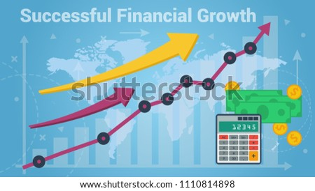 Colorful vector graphic and chart representing fast financial growth on blue world map background