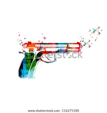 colorful vector gun with