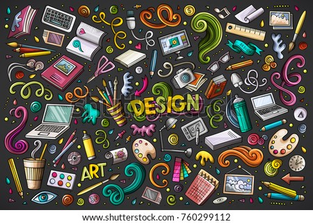 Colorful vector hand drawn doodle cartoon set of design theme items, objects and symbols