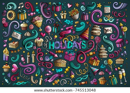 Colorful vector hand drawn Doodle cartoon set of holidays objects and symbols