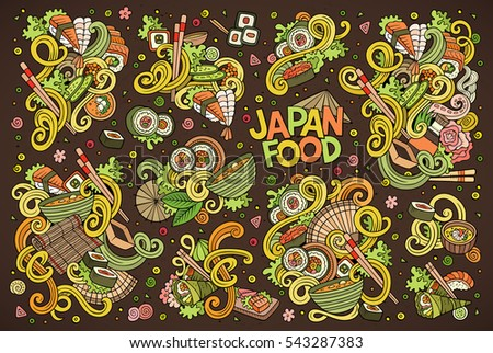 Colorful vector hand drawn doodle cartoon set of Japan food objects and symbols