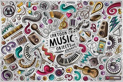 Colorful vector hand drawn doodle cartoon set of Music theme items, objects and symbols