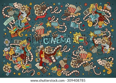 Colorful vector hand drawn Doodle cartoon set of objects and symbols on the cinema theme
