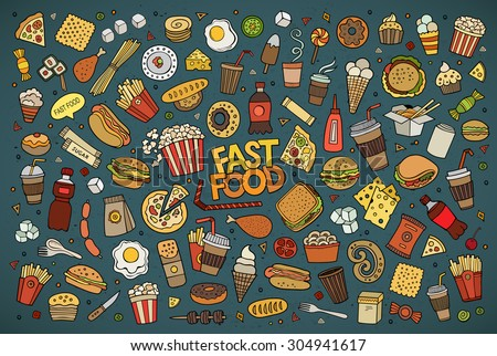 Colorful vector hand drawn Doodle cartoon set of objects and symbols on the fast food theme