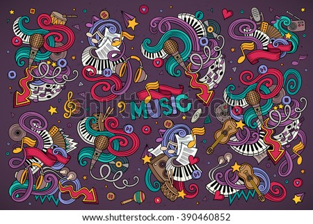 Shutterstock Colorful vector hand drawn Doodle cartoon set of objects and symbols on the music theme