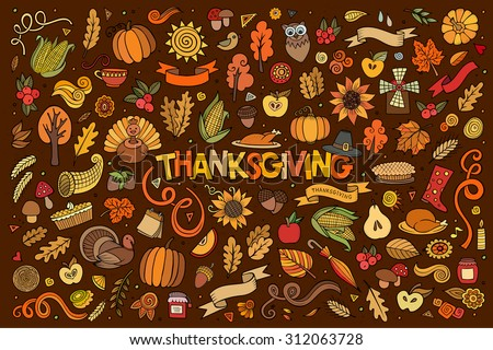 stock-vector-colorful-vector-hand-drawn-doodle-cartoon-set-of-objects-and-symbols-on-the-thanksgiving-autumn