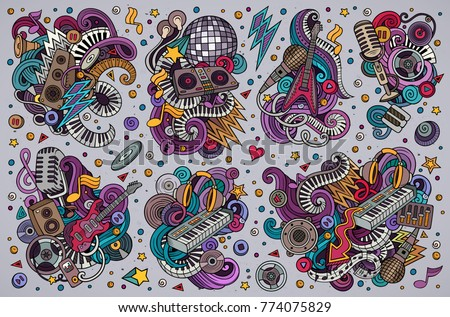 Colorful Vector Hand Drawn Doodles Cartoon Set Of Disco Music Combinations Objects And Elements