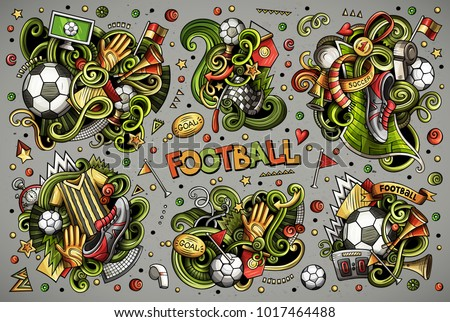 Colorful vector hand drawn doodles cartoon set of football combinations of objects and elements. All items are separate