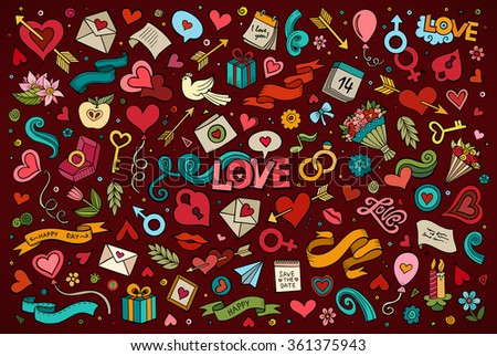 Colorful vector hand drawn doodles cartoon set of Love and Valentines Day objects and symbols