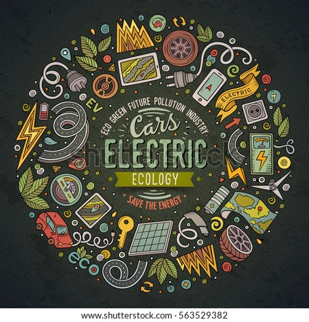 Colorful vector hand drawn set of Electric cars cartoon doodle objects, symbols and items. Round frame composition