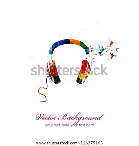 colorful vector head phone with