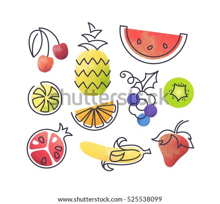 Colorful vector icons' set of fruits. Isolated creative design healthy life objects. Vegetarian and vegan food halftone textured and monoline symbols' pack. No gradients