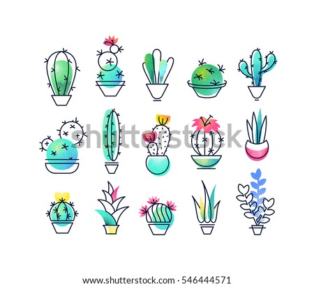 Colorful vector icons' set of indoor plants, cactus. Isolated creative design nature objects. Halftone textured and monoline symbols' pack. No gradients