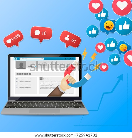 colorful vector illustration concept for digital marketing, social campaign, engaging with followers isolated on bright background