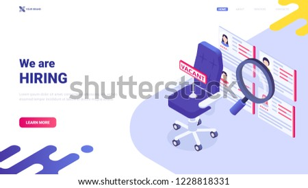 """Colorful vector illustration: empty office chair and sign """"vacancy"""". Website header design concept with message """"We are hiring"""".  Banner for recruiting agency/personnel department. Team member search."""