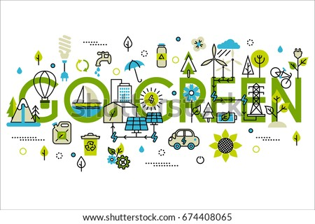 Colorful vector illustration in modern flat line style, ecology concept horizontal web banner.  Green energy, go green, alternative fuel. For info graphics and graphic design.