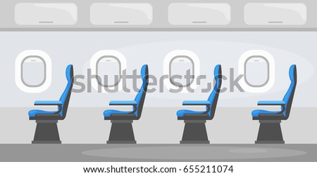 Colorful  Vector illustration of   Aircraft interior with windows  and passenger seats