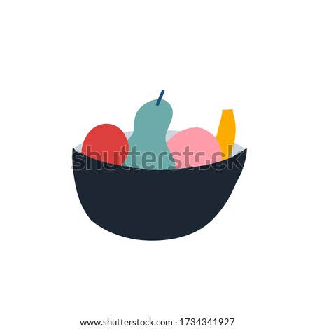 Colorful vector illustration of bowl with different fruits. Decorative element. Apple, pear. For cards, posters, stationery. Stock photo ©