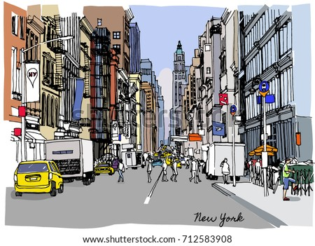 Colorful vector illustration of New York. Street in perspective. Broadway.