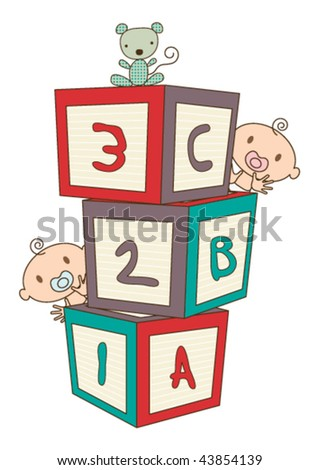 Colorful vector illustration showing a baby's building blocks, baby's peeping around the blocks, and a stuffed toy animal.