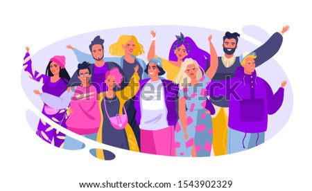 Colorful vector illustration with cute joyful friends. Friendship concept. Group of smiling, happy, young people standing together, embracing each other, waving hands. Flat cartoon style.