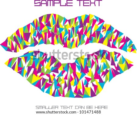 colorful vector illustration with pop art lips made of color triangle pieces and place for your text isolated on white background